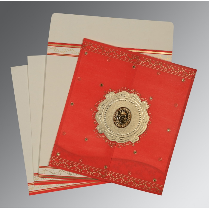 Red Wooly Embossed Wedding Invitation : S-8202H - 123WeddingCards