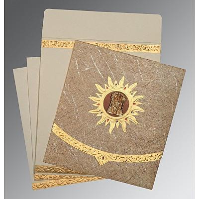 Brown Wooly Embossed Wedding Card : SO-1225 - 123WeddingCards